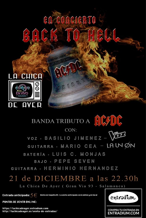 BACK TO HELL, EN CONCIERTO, TRIBUTO A AC/DC
